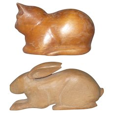 2 Pennsylvania Folk Art Carvings A Cat and A Jack Rabbit