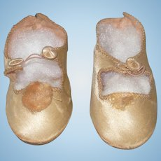 """Old 3 .25 Inch Champagne Satin Doll Shoes Button and Loop Closures Stamped """"58"""" on Sole"""