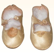 "Old 3 .25 Inch Champagne Satin Doll Shoes Button and Loop Closures Stamped ""58"" on Sole"