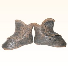 3.25 Inch Size 5 Flat Sole Key Stone Glaze Kid 5 Button Boots