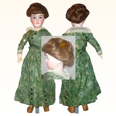 20 Inch Simon Halbig 1159 Bisque Head on Labeled Jumeau Lady Body Cork Pate Original Upswept Wig Period Costume
