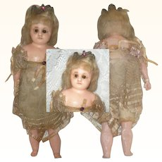 1860-70 Angelic Victorian 11 Inch Poured Wax SH Doll Brown Glass Eyes Gauzy  Costume and Crown