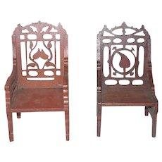 Two 19th Century Tramp Art Fret Work Miniature Chairs Leaf Design