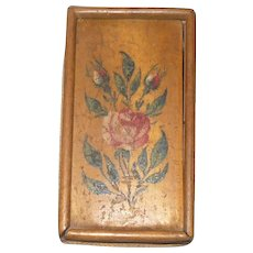 1801 Miniature Pennsylvania  Varnished & Paint Decorated Wood Divided Slide Top Box