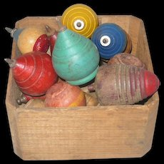 Antique NJ Splint Strawberry Basket Filled with 17 Toy Wood Tops