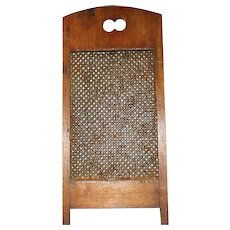 Old 13 Inch Hand Punched Tin Grater in Wood Frame with Legs and Finger Holes