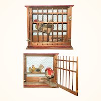 Big 9 Inch Old German Toy Red Roof Coop with Hen Chick and Pop Out Rooster