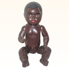 """7"""" Societe Noble Francaise Black Celluloid Baby Doll Beautiful Molded Features"""