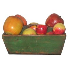 14 Inch Apple Green Painted Wood Dove Tailed Tote and Nine Red Painted Wood Apple Trinket Boxes