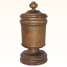 9 Inch Late 19th Century Turned Wood Chalice with Lid