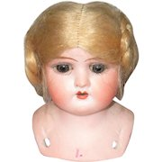 3.5 Inch Bisque Shoulder Head Incised Ruth Blue Glass Eyes Original Blond Mohair Wig Coiled Braids