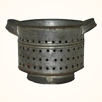 19th Century 4.5 Inch Round Pennsylvania Smith Made Cheese Mold Strap Handles Drain Holes Foot