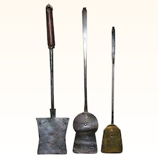 Three Hand Wrought Iron and Brass 19th Century Long Handled Pennsylvania or NJ Cooking Spatula Tools
