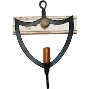 Old Hand Wrought Iron Shield Shaped Hanging Candleholder