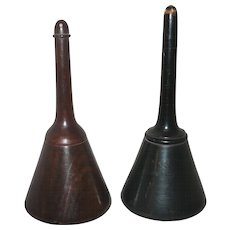 Two 19th Century Turned and Polished Wood Glove Talcum or Powdered Medicine Container Dispensers
