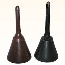 Two 19th Century Turned and Polished Wood Powdered Medicine Container Dispensers