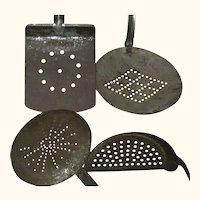 4 Old Pierced Metal Long Handle Hanging Cooking Tools with Snowflake Circle Diamond Moon Pierced Designs