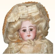"French Trade 12"" Simon Halbig 749 Brn SE Fur Lashes Sq Teeth Cork Pate Org Wig  Costume"
