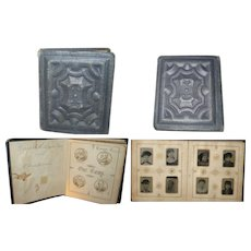 "3.75 Inch 19th Century  ""Our Gems"" Simon Wing Carte de Viste  Miniature Album with 40 Gem Tin Types"
