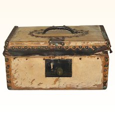 12 Inch 1810 Hide Covered Wood Flat Top Trunk or Strong Box Early Wall Paper Interior