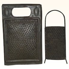 2 Old Victorian Punched Tin Graters with Handles 1 with 1878 Patent Stamp Snowflakes and Concentric Circle Patterns