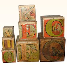 Set of 8 Litho on Wood 1880's L A Crandall  Monmouth ABC Machine Dovetailed Nesting Blocks