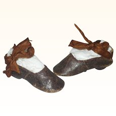 19th Century 3 Inch Leather Slipper Shoes with Heels and Ribbon Ties for Early China Papier-mache or Bisque Head Lady Doll