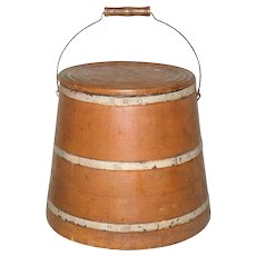 12 Inch 19th Century Sugar or Mince Meat Firkin Bucket Bail Handle Lid Pumpkin Paint