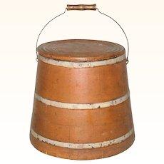12 Inch 19th Century Sugar or Mince Meat Firkin Bucket Bail Handle Lid Pumpkin Paint