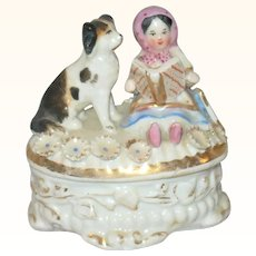 19th Century China Trinket Box with Girl Book Slate and Dog