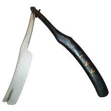 31 Inch Long Carved and Painted Wood Folding Strap Razor Trade or Occupational Sign