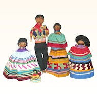 Scarce 12 Inch Male Seminole and 11 Inch Woman Needle Sculpted Noses Patch Work Costumes + 3 Others
