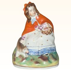 4 Inch 1850-60's Staffordshire Figure Little Red Riding Hood with Wolf