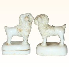 Pair of 1860 Staffordshire White Woolly 2.5 Inch Poodles on Bases