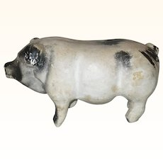 14 Inch 19th Century Folky Black Spotted White Chalkware Pig