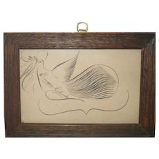 19th Century 7 Inch x 5 Inch Spencerian Pen and Inck Drawing of a Dove Signed Emma Choate as Found