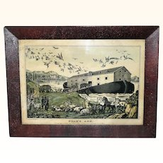 16.5 Inch x 12.5 Inch in Original Frame 1840-50 Lithograph Print Noah's Ark by S. Baillie