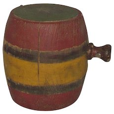 4 Inch 19th Century Polychrome Painted Wood Barrel Shape Wood Black Powder Keg - Red Tag Sale Item