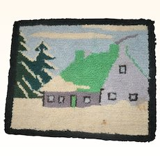10.5 Inch x 8.5 Inch Flat Stitched Hooked Mat with Snow Covered House and Pine Trees