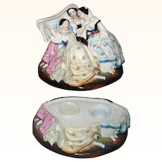 Fine 8 Inch 1850's China Ink Stand Pink Tint 3 Graces Figures with 1840's Hair Styles