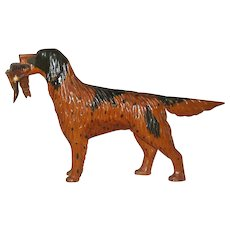 11.5 Inch Painted  Wood Carving of Gunning Dog with Pheasant