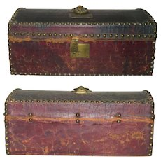 Rebecca B. Sterling's 14.5 Inch 1820 Red Leather Over Wood Trunk Thomas Moyer Philadelphia Label