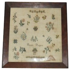 16 Inch Conservation Framed Hannah Rogers 1811 New Jersey Quaker Sampler - Red Tag Sale Item