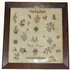 16 Inch Conservation Framed Hannah Rogers 1811 New Jersey Quaker Sampler