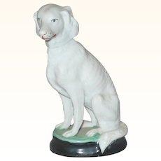19th Century 3.75 Inch Biscuit Saluki Dog on Glazed Base