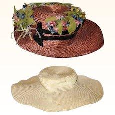 2 Edwardian Straw Doll Hats for Lady Doll.