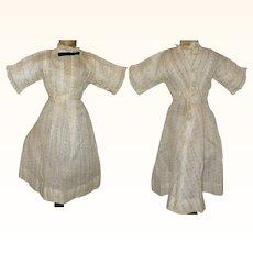 13 Inch Gauzy Ivory Linen Edwardian Lady Doll Dress Fine Woven Stripes Tiny Rose Buds Back Interest