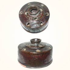 19th Century New Jersey Red Ware 11 Hole Round Ink Well Quill Holder