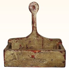 Primitive Old NJ 12 Inch Hanging Candle Box Lolly Pop Handle Old Worn Putty Paint