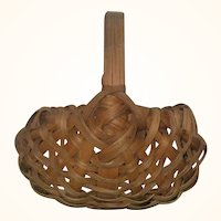 2.75 Inch 19th Century 8 Rib Splint Miniature Gathering Basket with Handle